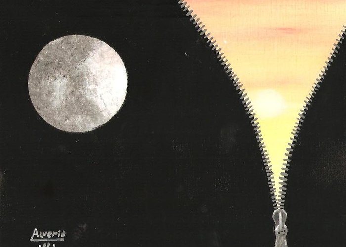 Moon Greeting Card featuring the painting Day And Night by Edwin Alverio