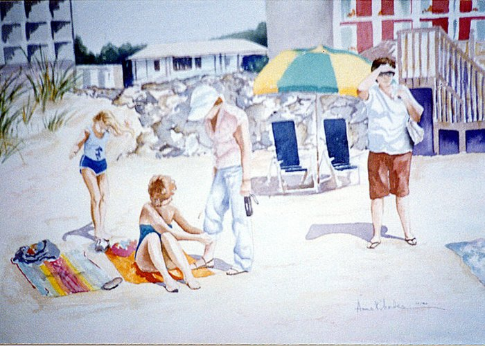 Beach Greeting Card featuring the painting Day At The Beach by Anne Rhodes