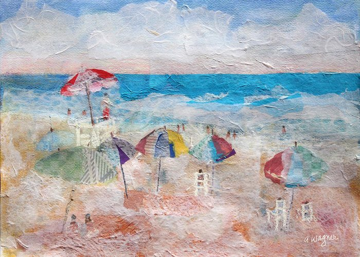 Beach Greeting Card featuring the mixed media Day At The Beach by Arline Wagner