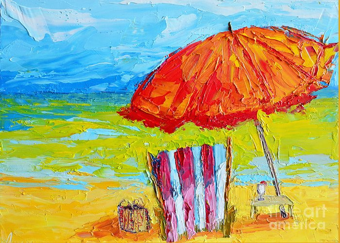 Day At The Beach Greeting Card featuring the painting Day At The Beach - Modern Impressionist Knife Palette Oil Painting by Patricia Awapara