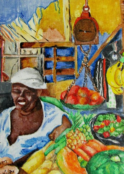 Market Greeting Card featuring the painting Market Day by Nkese Miller