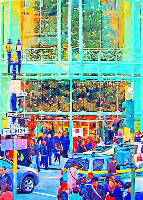 Stockton Street Greeting Card featuring the photograph Day Before Christmas At Neiman Marcus . Photoart by Wingsdomain Art and Photography