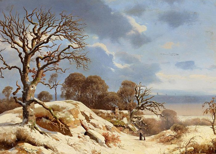 Heinrich Buntzen. Clear Winter's Day By The Baltic Sea Greeting Card featuring the painting Day By The Baltic Sea by MotionAge Designs