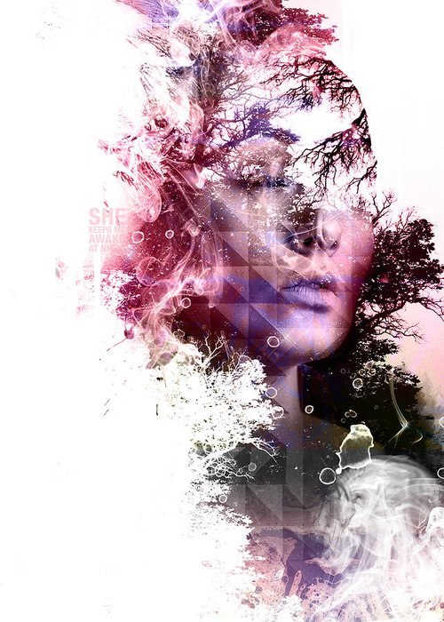 Woman Greeting Card featuring the digital art Day Dream by INDO The artist
