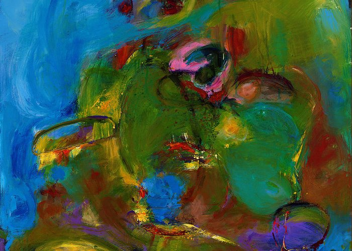 Abstract Expressionistic Greeting Card featuring the painting Day Expressing Dawn by Johnathan Harris