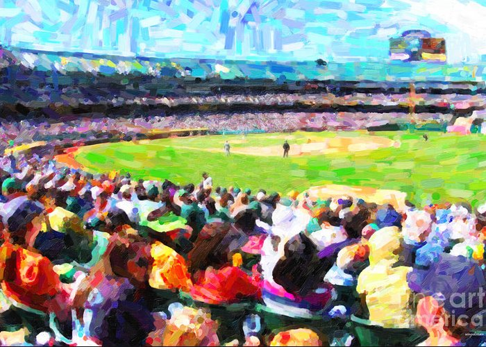 Baseball Greeting Card featuring the photograph Day Game At The Old Ballpark by Wingsdomain Art and Photography
