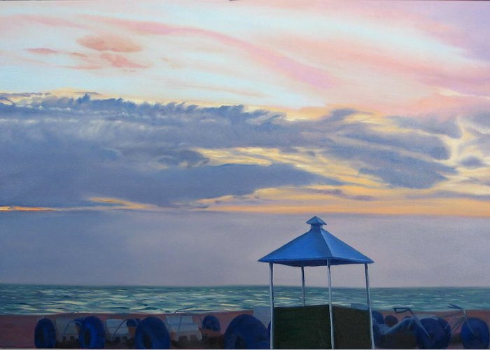 Sunset Greeting Card featuring the painting Day Is Done by Lea Novak
