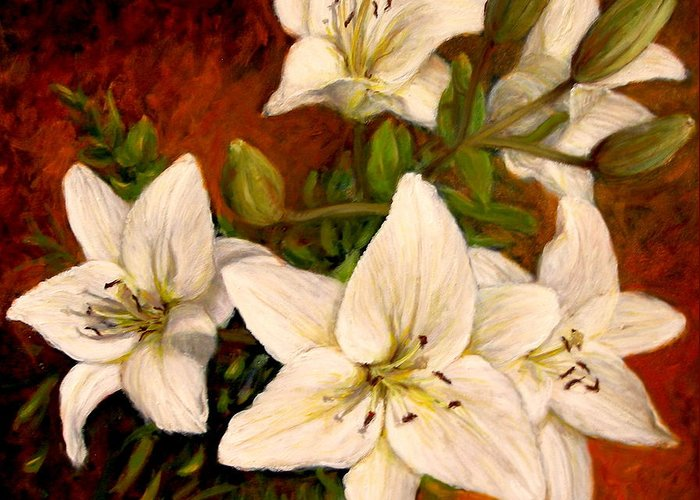 Realism Greeting Card featuring the painting Day Lilies by Donelli DiMaria