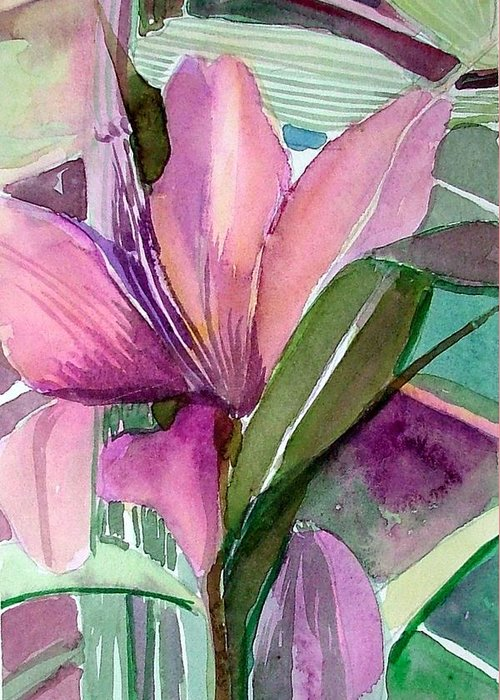 Flower Greeting Card featuring the painting Day Lily Pink by Mindy Newman