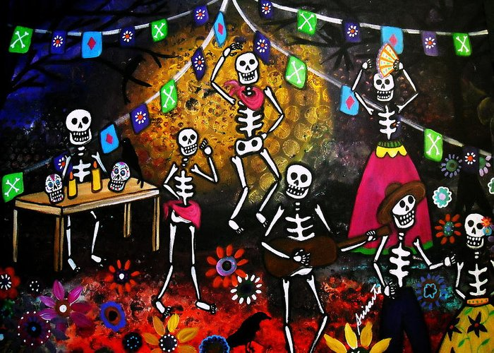 Day of the dead festival greeting card for sale by pristine cartera festival greeting card featuring the painting day of the dead festival by pristine cartera turkus m4hsunfo