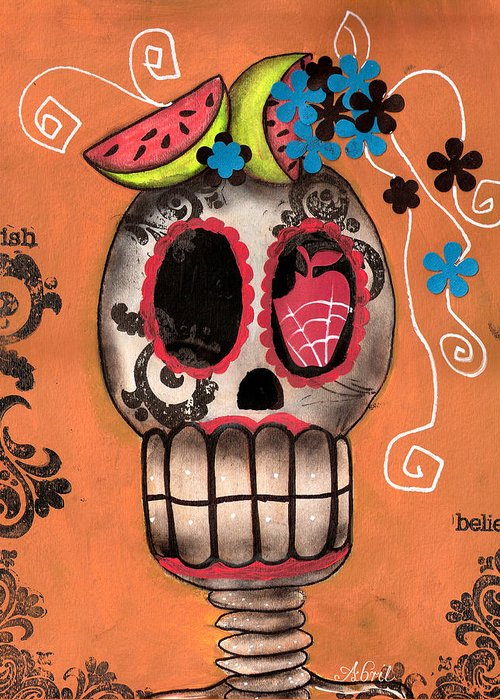 Day Of The Dead Skeleton Greeting Card featuring the painting Day Of The Dead Watermelon by Abril Andrade Griffith