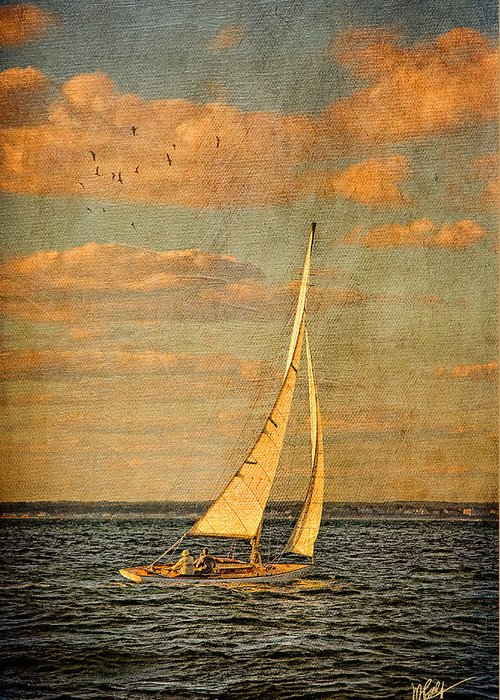Sailboat Greeting Card featuring the mixed media Day Sail by Michael Petrizzo