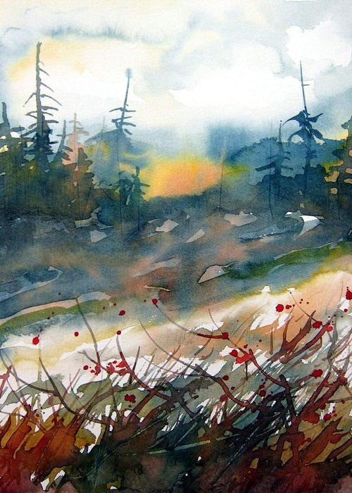 Watercolor Greeting Card featuring the painting Daybreak by Chito Gonzaga