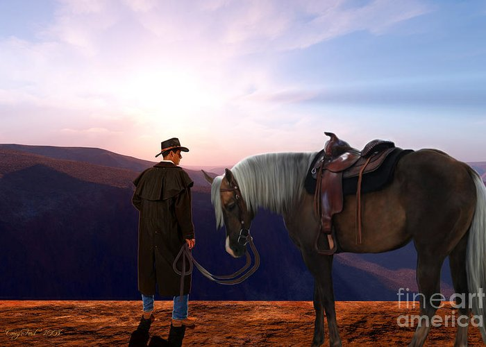 Cowboy Greeting Card featuring the painting Daybreak by Corey Ford