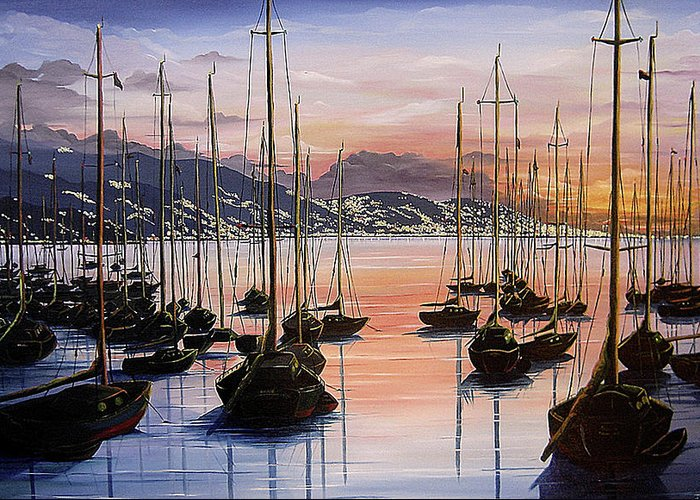 Seascape Painting Yacht Painting Harbour Painting Port Of Spain Trinidad And Tobago Painting Caribbean Painting Tropical Seascape Yachts  Painting Boats Dawn Breaking Greeting Card Painting Greeting Card featuring the painting Daybreak by Karin Dawn Kelshall- Best