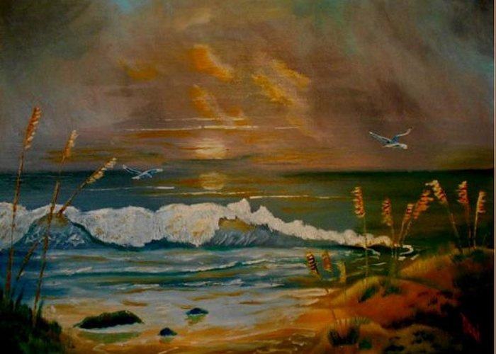 Seascape Greeting Card featuring the painting Daybreak On The Dunes by Dana DeCecco