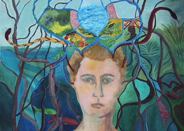 Figure Greeting Card featuring the painting Daydream Crown by Ingrid Torjesen