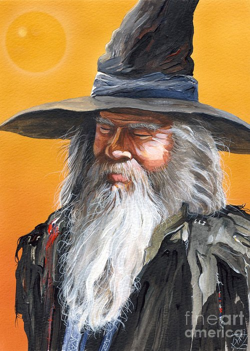 Fantasy Art Greeting Card featuring the painting Daydream Wizard by J W Baker
