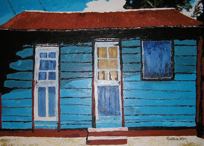 House Greeting Card featuring the painting Daydreaming Blues by Ricklene Wren