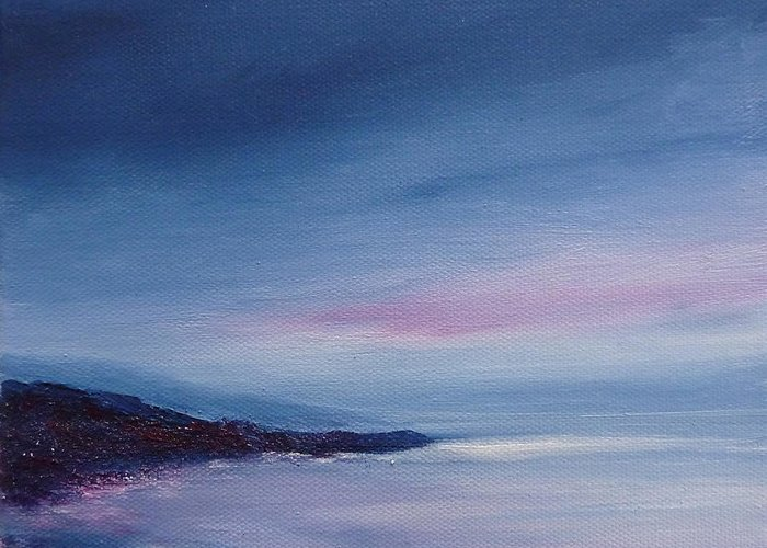 Seascape Greeting Card featuring the painting Daylight To Dusk by Margaret Denholm