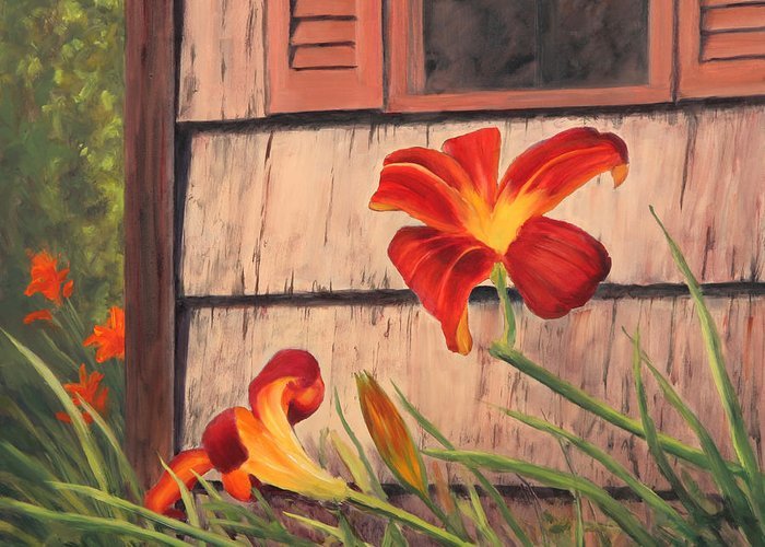 Daylily Greeting Card featuring the painting Daylilies At The Shed by Elaine Farmer