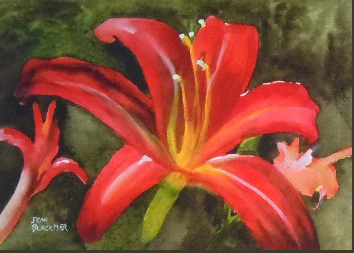 Red Greeting Card featuring the painting Daylily Study IV by Jean Blackmer