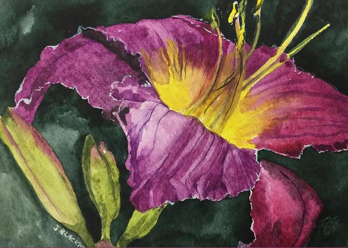Daylily Greeting Card featuring the painting Daylily Study VI by Jean Blackmer