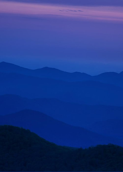 Blue Greeting Card featuring the photograph Day's End At The Blue Ridge by Andrew Soundarajan