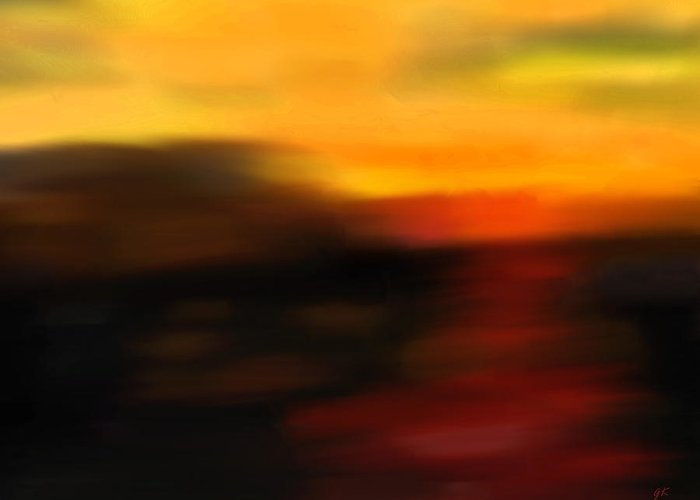 Abstract Art Greeting Card featuring the painting Day's End by Gerlinde Keating - Galleria GK Keating Associates Inc