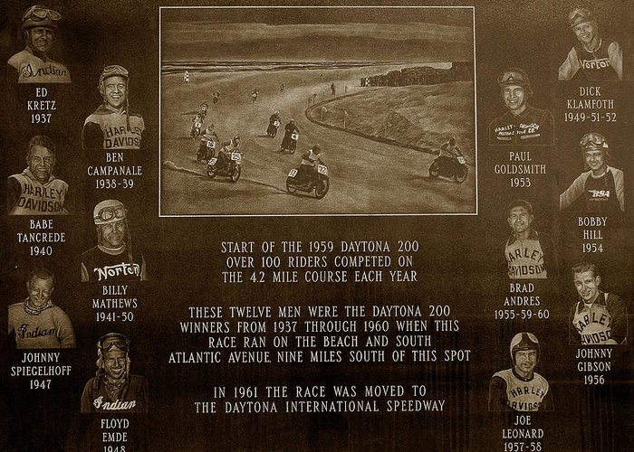Dayton 200 Bike Race Greeting Card featuring the photograph Daytona 200 Plaque by David Lee Thompson