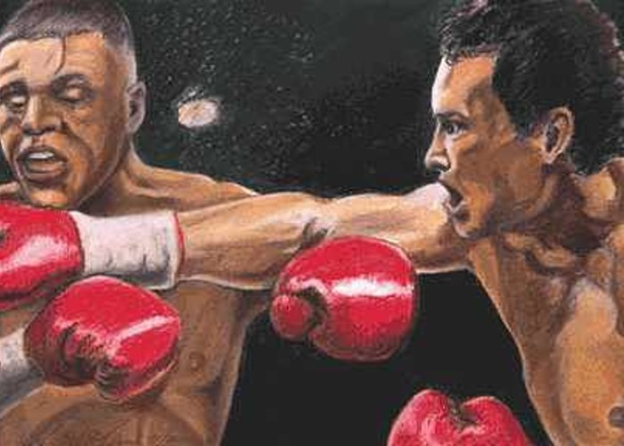 Boxer Greeting Card featuring the painting De La Hoya vs Vargas by Kenneth Kelsoe