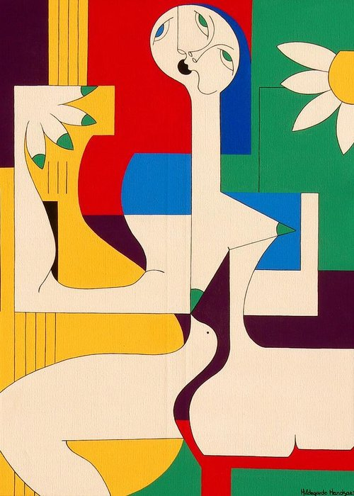 Women Birds Music Guitar Flower Humor Voice Greeting Card featuring the painting De Sopraan by Hildegarde Handsaeme