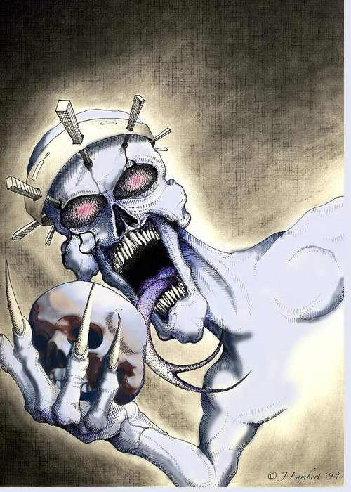 Horror Greeting Card featuring the drawing Dead Crown by J P Lambert