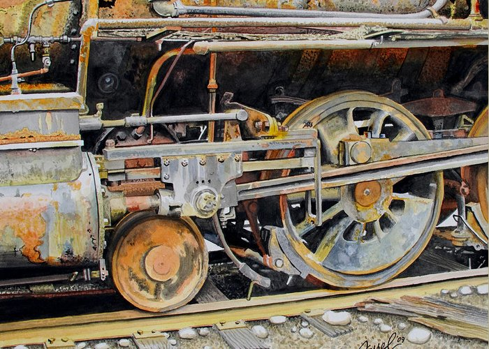 Train Greeting Card featuring the painting Dead In Its Tracks by Ferrel Cordle