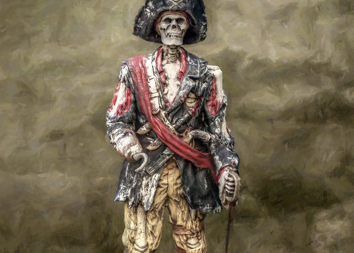 Pirate Greeting Card featuring the digital art Dead Men Tell No Tales by Randy Steele