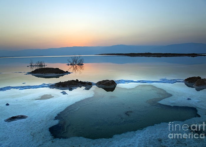 Sunrise Greeting Card featuring the digital art Dead Sea Shallow Waters At Dawn by Eldad Carin