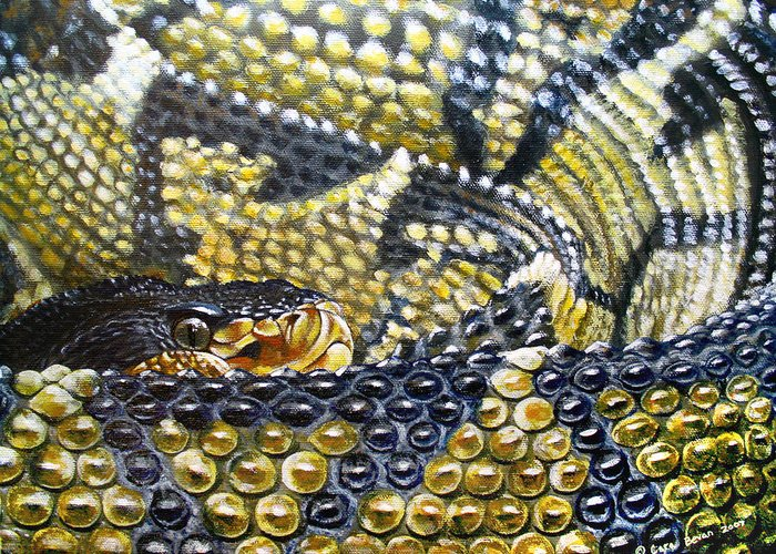 Snake Greeting Card featuring the painting Deadly Details by Cara Bevan