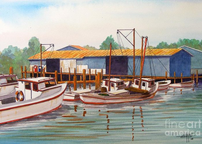 Landscape Greeting Card featuring the painting Deadrise Dock by Hugh Harris