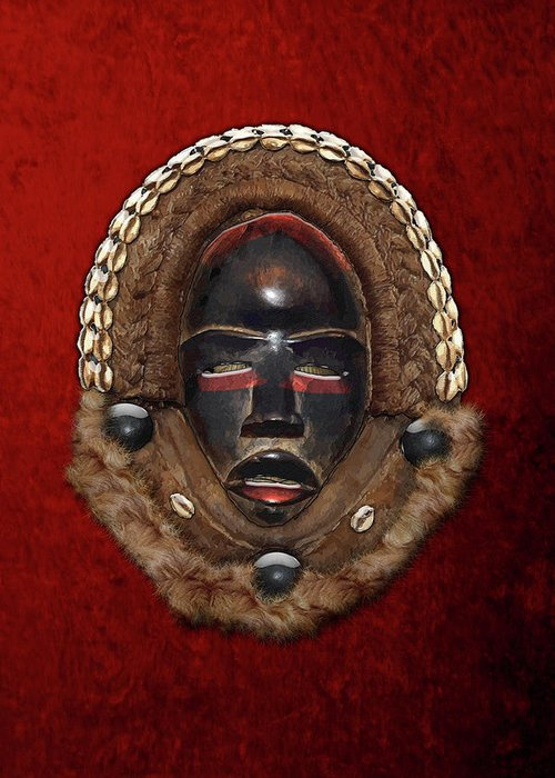 'treasures Of Africa' Collection By Serge Averbukh Greeting Card featuring the digital art Dean Gle Mask By Dan People Of The Ivory Coast And Liberia On Red Velvet by Serge Averbukh