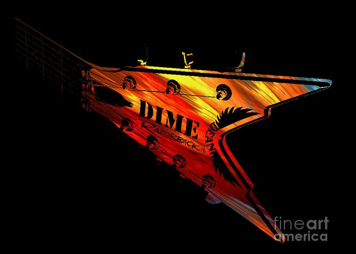 Dimebag Greeting Card featuring the digital art Dean Razorback - 7 String Guitar by Michael Bergman