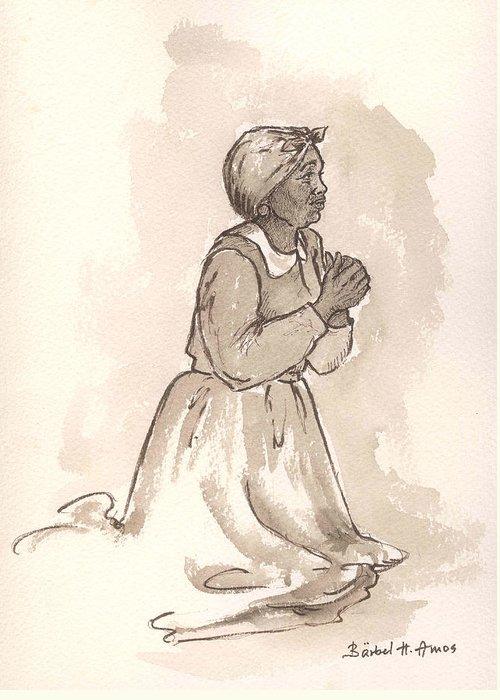 Black Woman Praying Greeting Cards