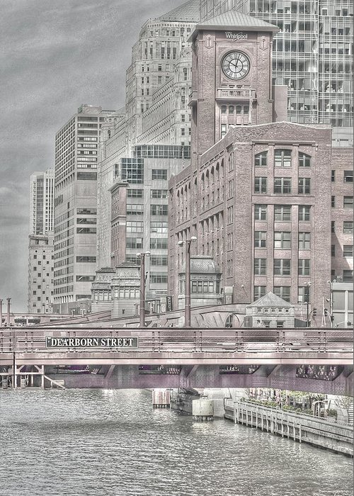 Chicago Greeting Card featuring the photograph Dearborn Street Bridge by Jim Cole