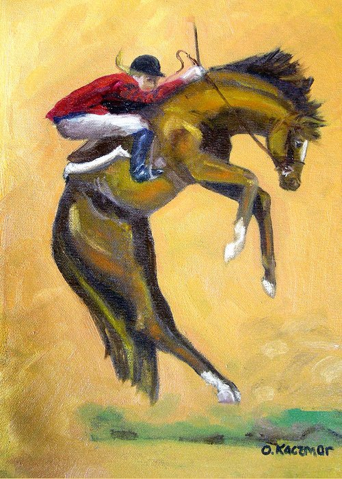 Horse Greeting Card featuring the painting Death Defying Ride by Olga Kaczmar