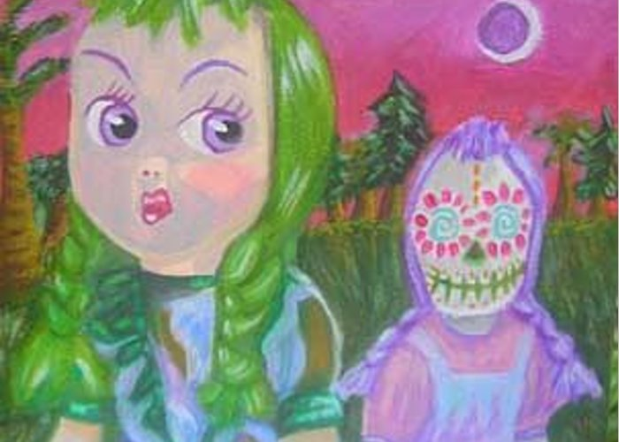 Doll Greeting Card featuring the painting Death Is Always Just Behind You And A Little To The Left by Michelley QueenofQueens