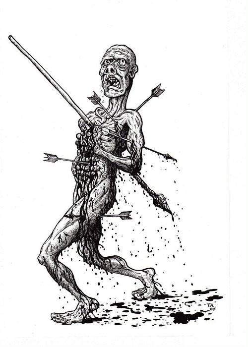 Dark Greeting Card featuring the drawing Death March by Tobey Anderson