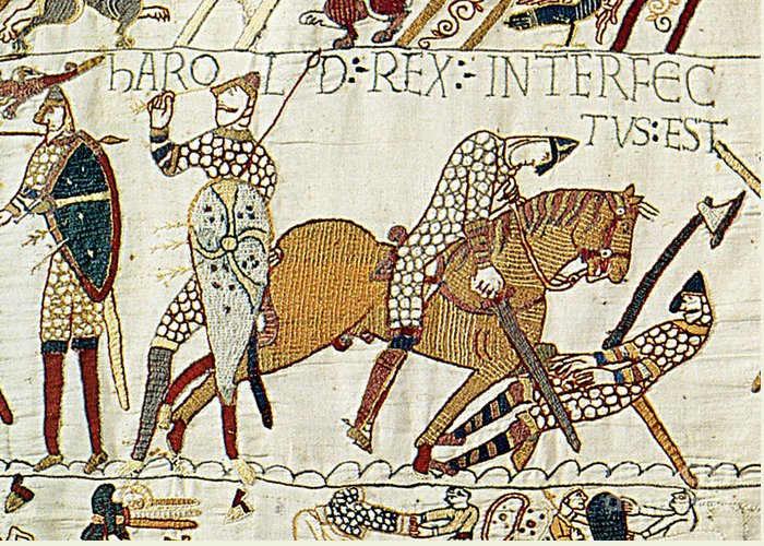 History Greeting Card featuring the photograph Death Of Harold, Bayeux Tapestry by Photo Researchers