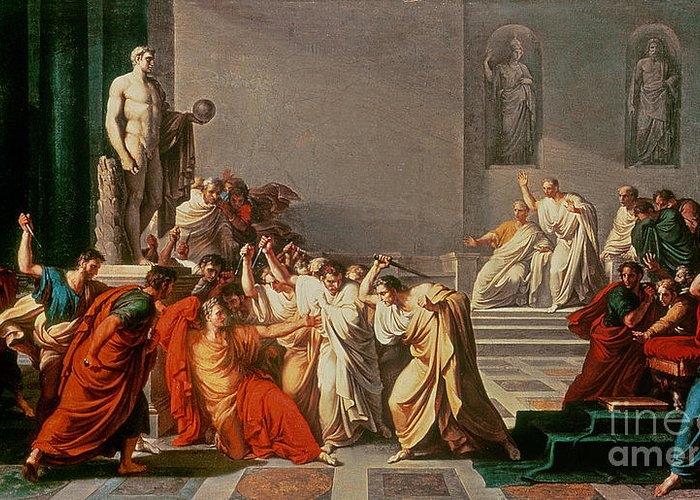 Neo-classical;roman Emperor;assassinated By Brutus;murdered;murderer;political Coup;attacking;senators;statue;gaius; Ides Of March;cassius;statesman;general;jules Cesar Greeting Card featuring the painting Death Of Julius Caesar by Vincenzo Camuccini