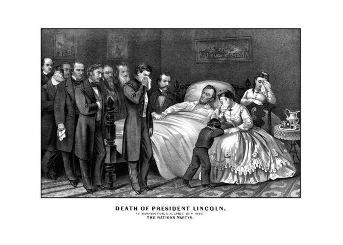 Abraham Lincoln Greeting Card featuring the drawing Death Of President Lincoln by War Is Hell Store