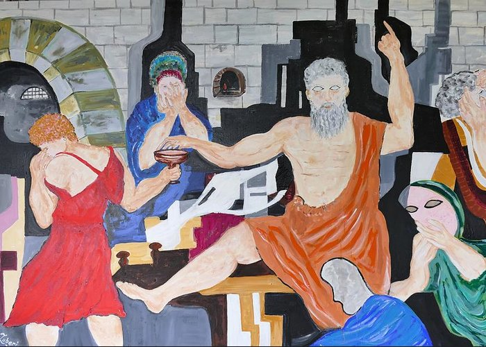 Neoclassic Paintings Greeting Card featuring the painting Death Of Socrates by Shahid Zuberi