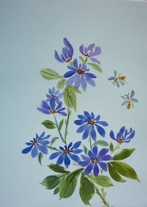 Florals Greeting Card featuring the painting Deb's Daisies by Ruth Bevan